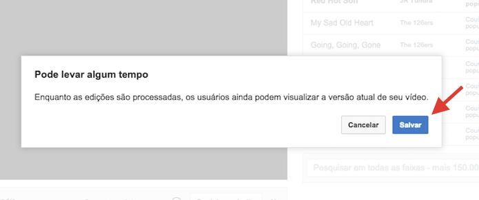 Confirmando a inclusão da trilha no vídeo sem áudio em um perfil do YouTube (Foto: Reprodução/Marvin Costa)