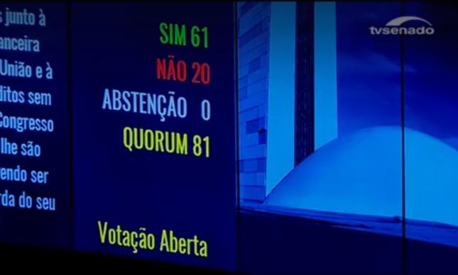 Resultado da votação que confirmou o afastamento da presidente Dilma Rousseff no telão do Senado