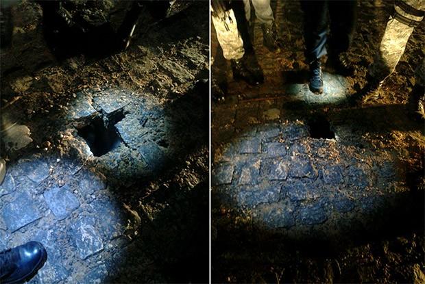 Escavação foi descoberta na noite desta segunda-feira (8) já na área externa da cadeia, no meio da rua (Foto: Força Nacional)