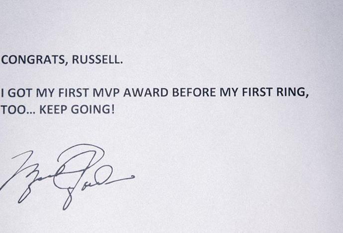 Mensagem de Michael Jordan para Russell Westbrook depois da premiação de MVP (Foto: Reprodução/Instagram)