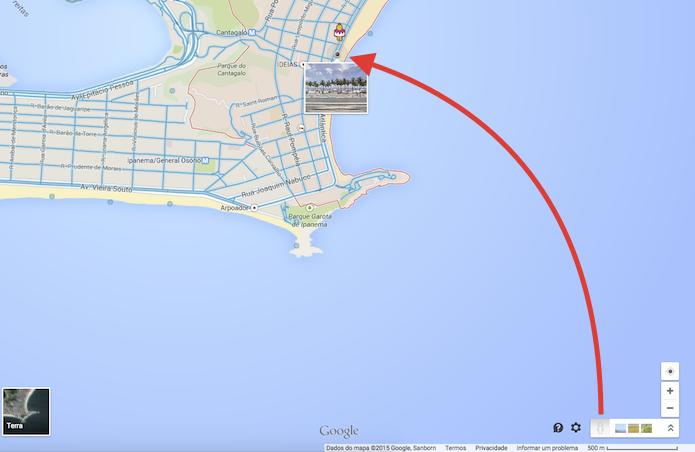 Indicando um local no mapa para iniciar o Google Street View (Foto: Reprodução/Marvin Costa)