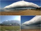 Frente fria forma nuvem gigante e causa ventania na Grande Vitória