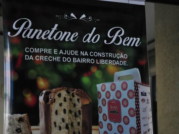 Embalagem do Panetone do Bem informa intuito da ação (Foto: André Ferreira/ G1)