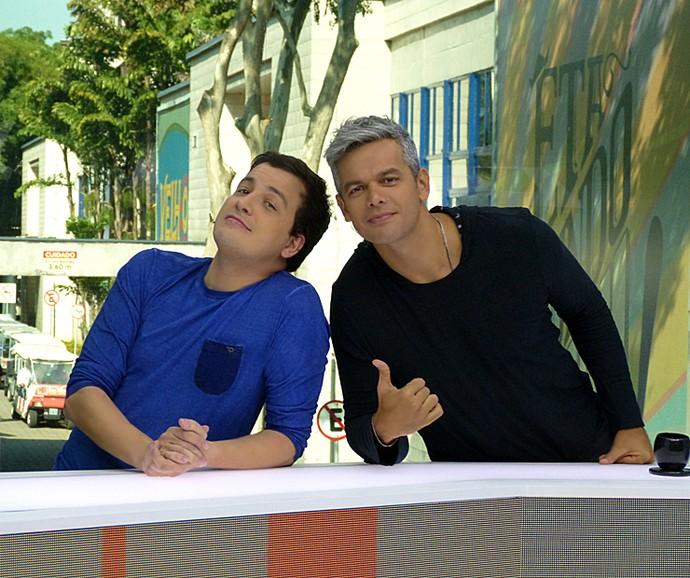 Rafael Cortez e Otaviano Costa apresentam o Vídeo Show (Foto: Cristina Cople / Gshow)