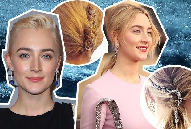 Saoirse Ronan apostou em acessórios de cabelo no SAG Awards e no Globo de Ouro (Foto: Getty Images/ Reprodução/Instagram)