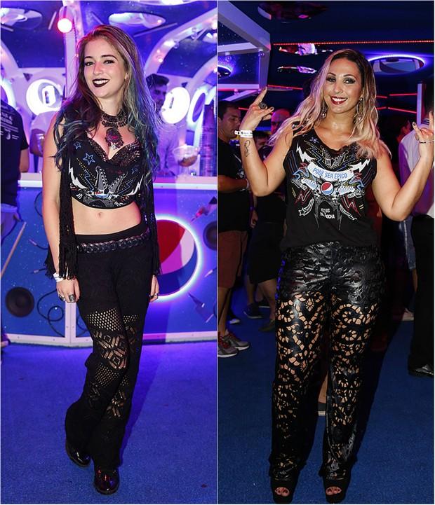 Look no Rock in Rio: Valesca Popozuda e Anna Rita Cerqueira usaram calças pretas cheias de recortes (Foto: Ag. News e Marcos Serra Lima/EGO)