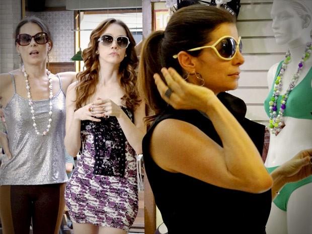 Sob olhar de Noêmia e Alexia, Verônica prova óculos  (Foto: Avenida Brasil/TV Globo)