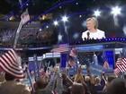 Hillary aceita candidatura e ataca Trump: 'não vamos construir muro'