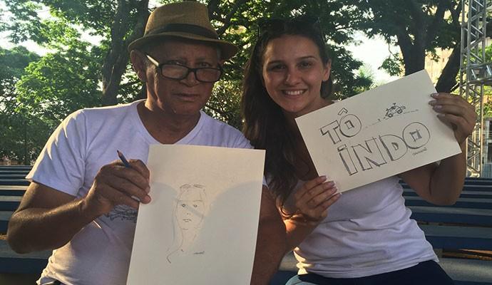 Diretora Anaisa também levou para casa uma caricatura (Foto: Divulgação | Tô Indo)
