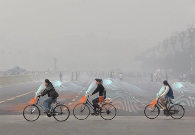 Smog Free Bike, a bicicleta que purifica o ar, projetada pelo Studio Roosegaarde (Foto: Divulgação)