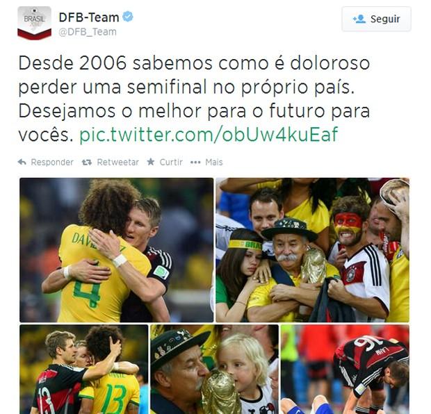 A mensagem de apoio dos alemães ao Brasil (Foto: Reprodução / Twitter)