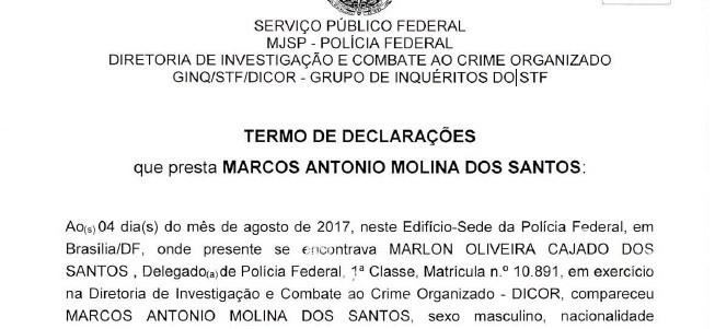 Trecho de depoimento do empresário Marcos Molina, da Marfrig, à PF (Foto: Reprodução)