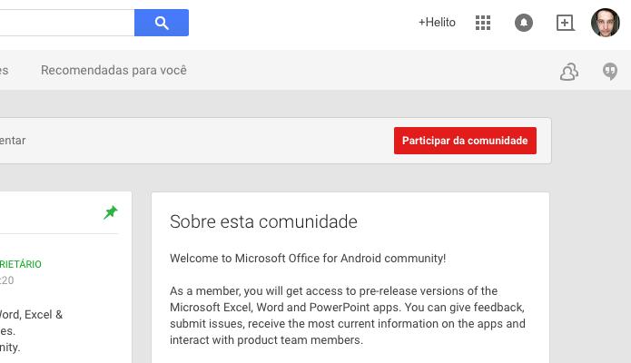 Participe da comunidade do Office no Google+ (Foto: Reprodução/Helito Bijora)