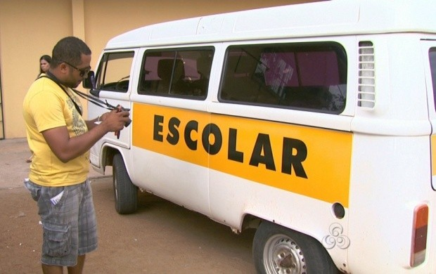 Veículos que fazem o transporte escolar para a rede Estadual de Educação passam por vistoria (Foto: Bom Dia Amazônia)