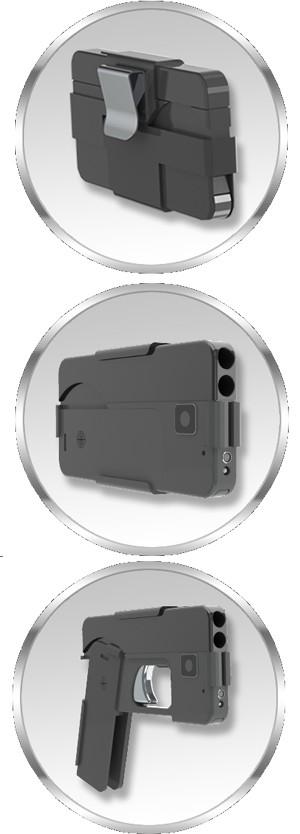 Arma da empresa Ideal Conceal tem forma de smartphone e carga para duas balas de calibre .380 (Foto: Divulgação/Ideal Conceal)