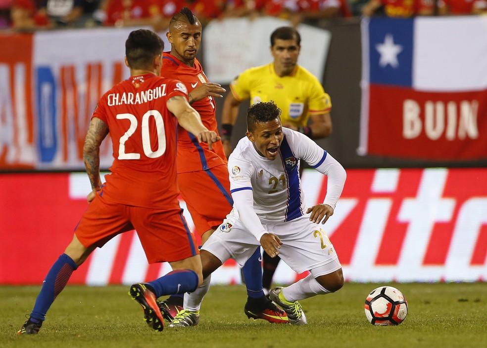 Amílcar Henríquez em ação pelo Panamá contra o Chile, pela Copa América Centenário, em 2016 (Foto: Rich Schultz/Getty Images)