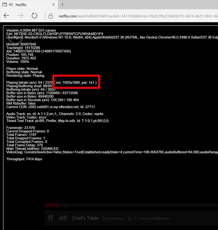 Reprodução Full HD só é possível no navegador da Microsoft (Foto: Reprodução/Filipe Garrett)