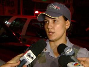 A tenente Larissa Fernanda, em Sumaré (Foto: Reprodução / EPTV)