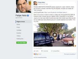 Postagem Felipe Neto, Três Corações, Edvânia Nayara (Foto: Reprodução/Facebook/Felipe Neto)