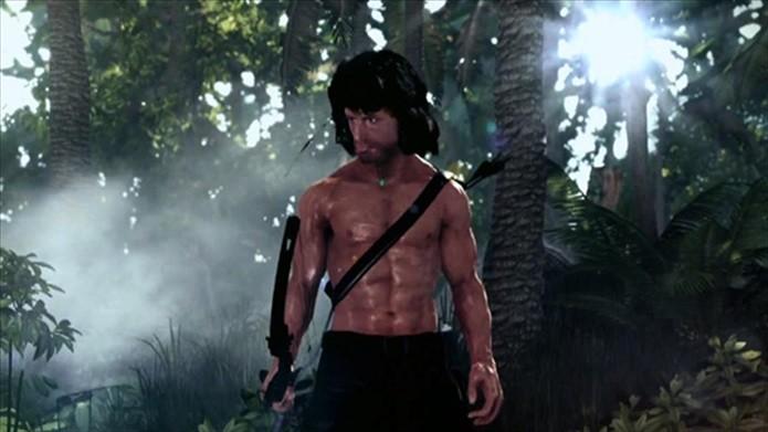 Rambo franzino e com cabeção, bem diferente dos anos 80 (Foto: Divulgação)