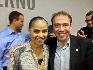 O presidente nacional do PHS, Eduardo Machado, ao lado da ex-senadora Marina Silva (Foto: Divulgação PHS)