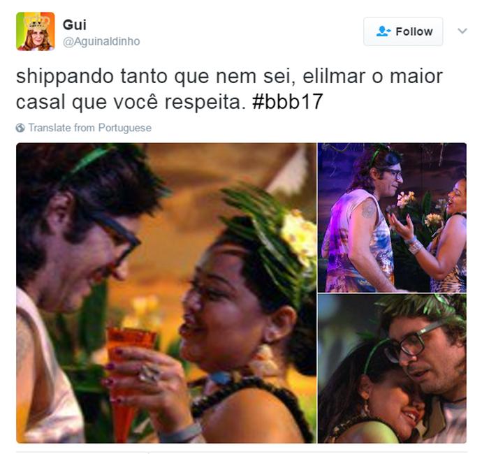 Tuíte Elis e Ilmar (Foto: Reprodução Twitter/@Aguinaldinho)