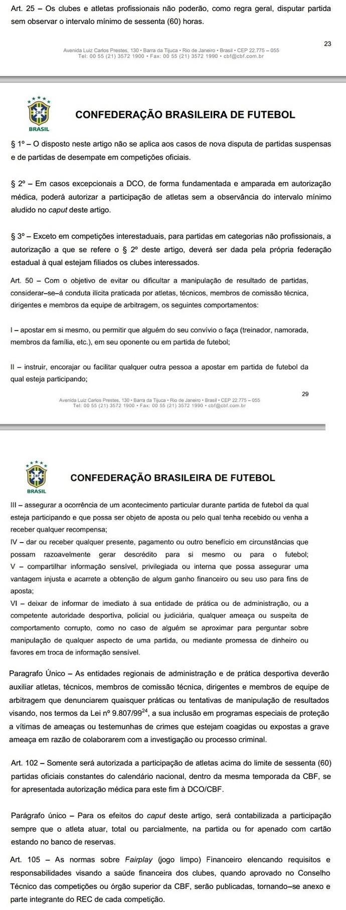 Documento CBF (Foto: Reprodução)
