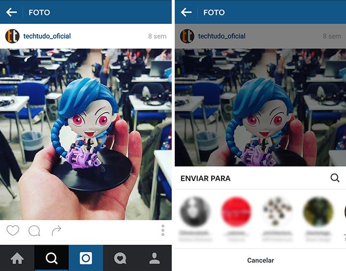 Use o Direct para compartilhar fotos do feed (Foto: Reprodução/Paulo Alves)