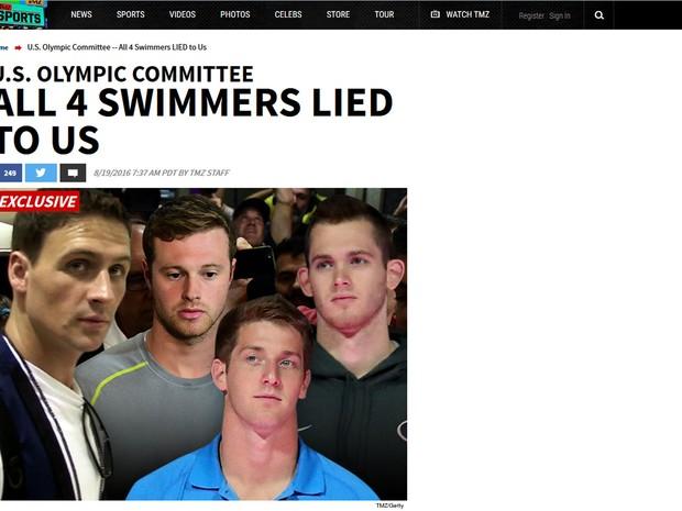 Nadadores mentiram para nós, diz site TMZ (Foto: Reprodução/TMZ)