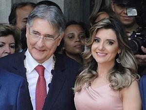 O governador de Minas Gerais, Fernando Pimentel, e a primeira-dama Carolina Oliveira Pimentel (Foto:  Pedro Ângelo/G1)