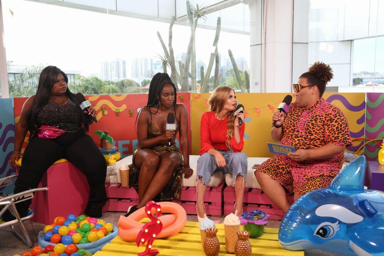 Iza e Lusa Sonza foram os primeiros convidados de Gominho e Jojo Todynho na live no Facebook do Multishow (Foto: Fabiano Leone/Multishow)