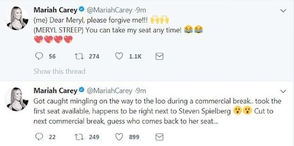 As mensagens na qual Mariah Carey revela sua gafe com Meryl Streep durante o Globo de Ouro 2018 (Foto: Twitter)
