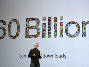 Tim Cook, presidente executivo da Apple, participa da série de apresentações que a fabricante realiza nesta terça-feira (22), em San Francisco, nos EUA. (Foto: Reprodução/Apple)