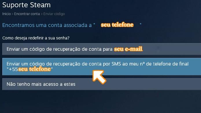 Você pode obter o código de recuperação também por telefone (Foto: Reprodução/Rafael Monteiro)