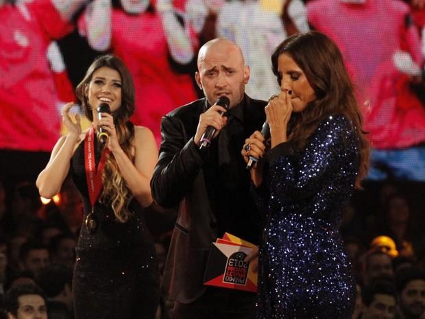 Paula Fernandes, Paulo Gustavo e Ivete Sangalo no Prêmio Multishow (Foto: Isac Luz/ EGO)