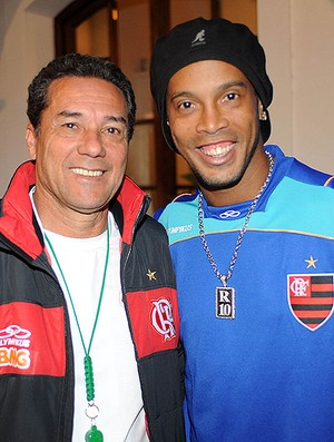 Vanderlei Luxemburgo no Flamengo com Ronaldinho Gaúcho