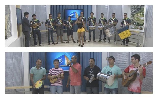 Grupos animaram os estúdios do Acre TV com muito samba (Foto: Reprodução TV Acre)