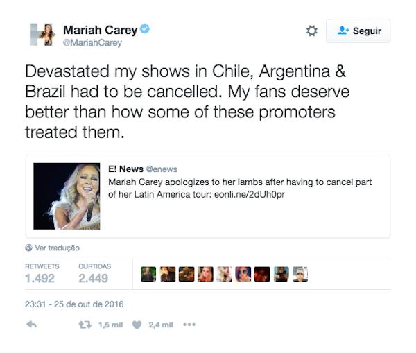 Mariah Carey anunciou pelo Twitter o cancelamento de seus shows no Brasil (Foto: Twitter)