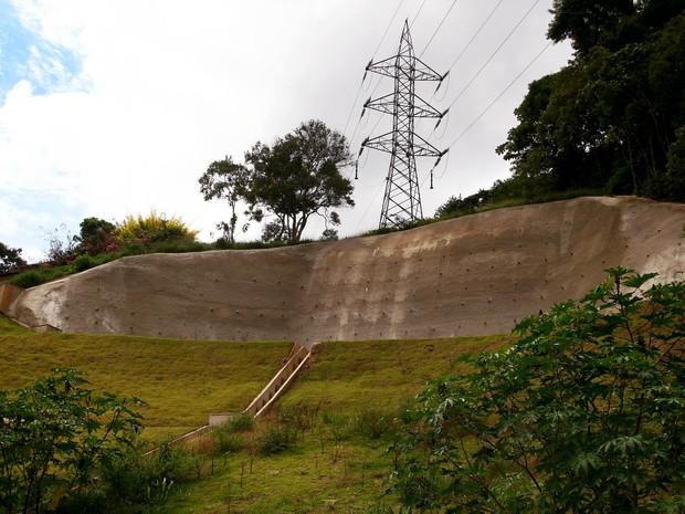 Obras de contenção de encostas na Região Serrana (Foto: Divulgação/Governo do Estado do Rio)