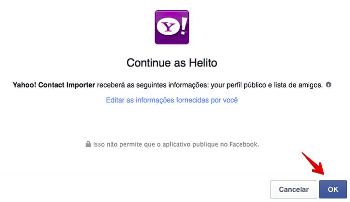 Permita que o Yahoo acesse a sua conta do Facebook  (Foto: Reprodução/Helito Bijora)