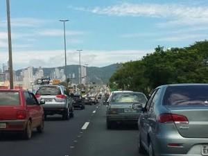 congestionamento SC (Foto: Luiz Souza/RBS TV)