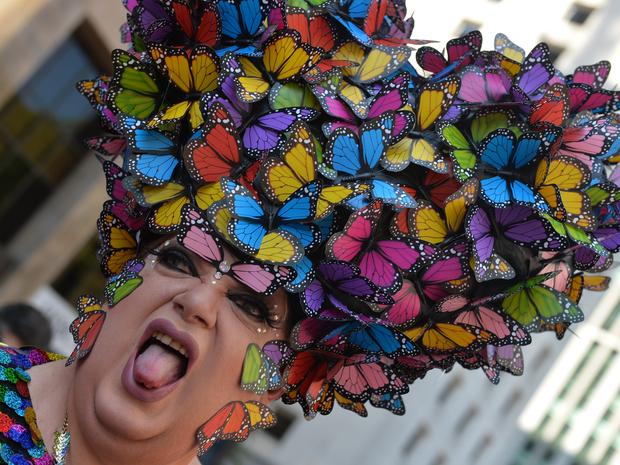 Participante concentrado para a 18ª Parada do Orgulho de Lésbicas, Gays, Bissexuais, Travestis e Transexuais de São Paulo. (Foto: Nelson Almeida/AFP Photo)