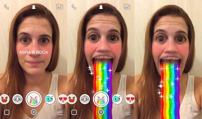 Neste efeito, abra a boca para ver um arco-íris sair de dentro dela (Foto: Reprodução/Juliana Pixinine)