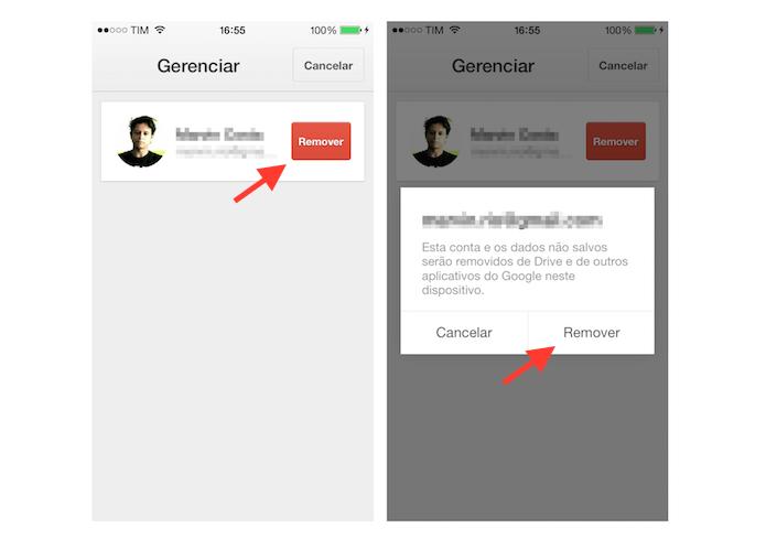 Removendo uma conta no Google Drive para iPhone (Foto: Reprodução/Marvin Costa)