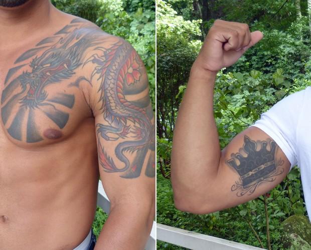 Jonatas exibe suas tatuagens (Foto: Priscilla Massena/Gshow)