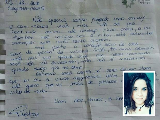 Pietra Cavallaro deixou uma carta para mãe antes de desaparecer (Foto: Reprodução/Facebook)