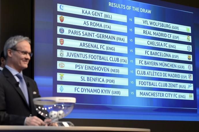 Giorgio Marchetti diretor de competições Uefa sorteio oitavas Liga dos Campeões (Foto: Laurent Gillieron/Keystone via AP)