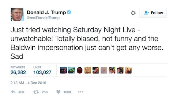 A crítica feita por Donald Trump ao ator Alec Baldwin (Foto: Twitter)