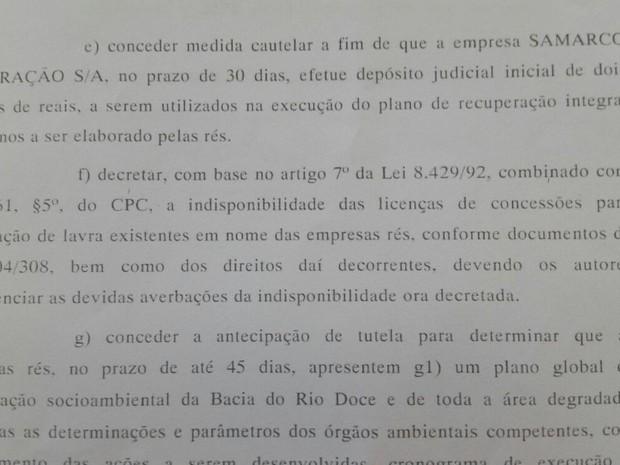 Juiz acatou pedidos de Ação Civil Pública dos governos do ES e MG (Foto: Reprodução/ TV Gazeta)