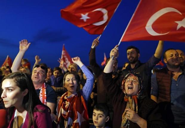 Apoiadores turcos do presidente Erdogan comemoram vitória do 'sim' no Referendo  (Foto: EFE/EPA/Tolga Bozoglu)